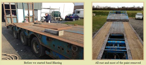 Sand blasting lorry trailor